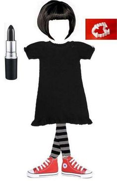 Assemble your own Mavis Costume with a black wig, black dress, striped tights, red shoes. Don't forget the vampire fangs and dark lipstick. From Hotel Transylvania on Facebook.