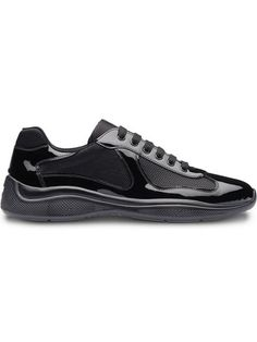 Shop Prada technical sneakers Black Leather Sneakers, Leather Trainers, Patent Leather, Leather Shoes, Prada Sneakers, Prada Shoes, Red Logo, Prada Men, Miuccia Prada