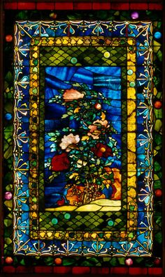 'Peonies Blown in the Wind.'  Leaded opalescent glass (1880) by John La Farge (1835-1910).Image and text courtesy The Metropolitan Museum of Art