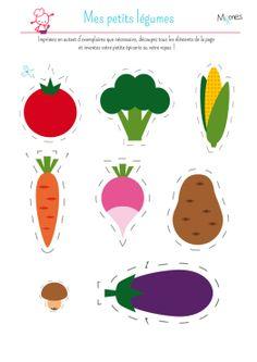 My little dinette: vegetables Food Crafts, Preschool Crafts, Paper Crafts, Montessori Activities, Preschool Activities, Teaching Kids, Kids Learning, Diy For Kids, Crafts For Kids