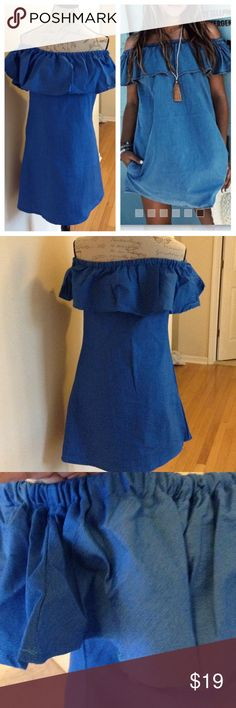 """✨😍Casual Denim Blue Color Dress✨NWOT ✨Awesome Dress✨Above Knees✨Cotton Blend✨Beach Wear, Sundress ...😍SIZE  L Approx. 17"""" armpit to armpit measured😍Approx. 29"""" in length✨SIZE XL Measures the same. Dresses do run small, please check measurements✨Any questions welcomed! Dresses"""