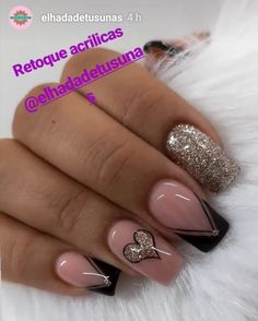 Fake Gel Nails, Gel Nail Art, Nail Manicure, Acrylic Nails, 3d Nails, Nail Art Designs Videos, Nail Art Videos, Nail Designs, Gold Glitter Nails