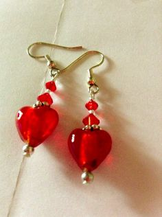 SilverPlate Crystal Red Heart Earrings by RubySlipper on Etsy, $12.00 Valentine's Day will soon be here!