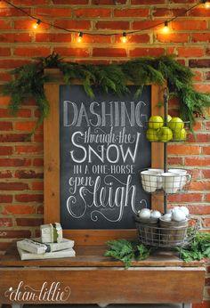 DIY  Farmhouse Styled Chalkboard Holiday Display ! She has so many Great tips and easy tutorials !