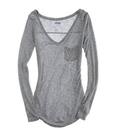 Another pinner said this is the most comfortable long-sleeved shirt they've ever had. Dark Heather Grey - Aerie $22.95