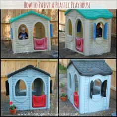 I'll need to remember this if I run across a playhouse at a yard or consignment store. How to Paint Plastic Outdoor Toys