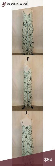 Banana Republic Maxi Dress Fluttery, feminine mint/black maxi dress, perfect for spring and summer!  100% Polyester, elastic waist.  Never worn, NWT. Left strap sewn with slight twist, not a problem, not noticeable, just wanted to mention. Banana Republic Dresses Maxi