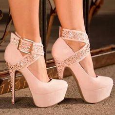 #cute #pink #rhinestone #heels #platform #ankle #strap