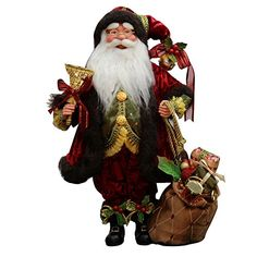 "16"" Inch Standing Whimsical Santa Claus Christmas Figurine Figure Decoration 41604. #SantaClaus #Santa #Claus #Christmas  #Figurine #Decor #Gift #gosstudio .★ We recommend Gift Shop: http://www.zazzle.com/vintagestylestudio ★"