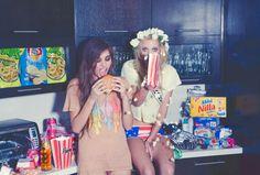 a blonde & a brunette