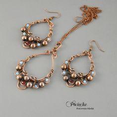 Madina - #earings with #pendant (by Pracownia miedzi - Pociecha), in #DecoBazaar.com