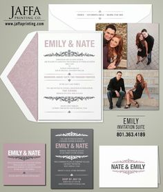 Modern photo wedding invitation that prints 2 sides for multiple photos on the back. You know, just in case you have too many good pictures to choose from!