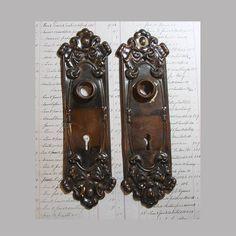 Ornate Door Knob Back Plate Pair  Fancy ESCUTCHEON Plates  Old Door Hardware  Salvaged Door Plate  Victorian Front Door  A33