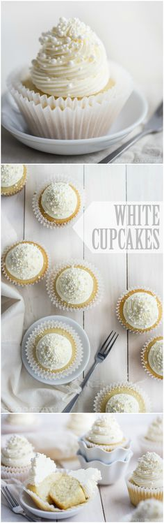 Simply perfect white cupcakes with a moist texture and a delicate hint of almond.