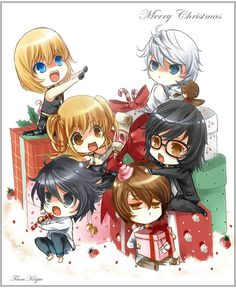 Death Note Christmas: Mello, Near, Misa, Mikami, L and Light Chibis :D Merry Christmas Death Note Near, Death Note L, Death Note Chibi, Death Note Funny, Death Note Fanart, Anime Chibi, Anime Manga, Anime Art, Cartoons