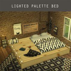 The Sims 4 Mody: Oświetlone łóżko paletowe od Lewo Sims