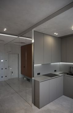 Minimalistic design of the interior of a small flat in Odessa, creating a space which will match the view from the window. Modern Kitchen Design, Interior Design Kitchen, Furniture Layout, Furniture Design, Kitchen Cabinets And Countertops, Interior Design Photography, Living Room Kitchen, Minimalist Decor, Apartment Design