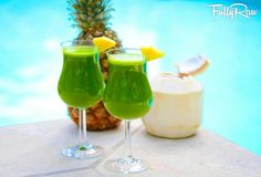 Piña Kale-ada Green Smoothie! Raw, vegan, and low fat! Enjoy this delicious sweet drink outside for a quick get-a-way!