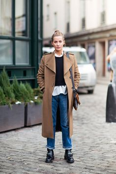 trench coat + blue jeans