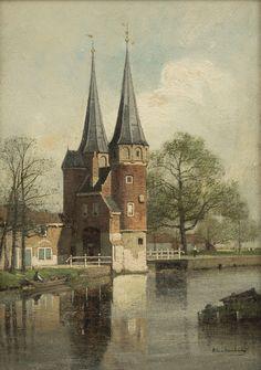 De Oostport In Delft, Johanes Karel Klinkenberg Delft, Castle Painting, City Painting, Medieval Life, Dutch Painters, European Paintings, Dutch Artists, Art For Art Sake, Historical Architecture