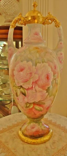 Amazing Huge Limoges Hand Painted Museum Quality Porcelain Vase Painted With Pastel Roses And Rich Roman Gold, Artist Signed - France   c.19th Century