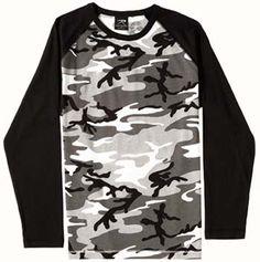City Camouflage Shirts Raglan Long Sleeve Camo T-Shirts City Camo $10.45