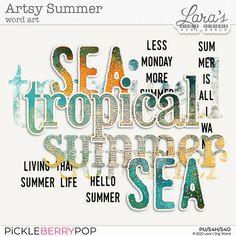 Artsy Summer Word Art by Lara´s Digi World - Digital Scrapbooking Designs Summer Words, Digital Scrapbooking Freebies, Scrapbook Designs, Creative Words, Word Art, Artsy, World, Challenges, Traditional