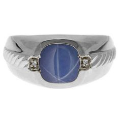 Men's Star Sapphire and Diamond Accent Ring In White Gold Available Exclusively at Gemologica.com