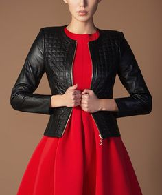 Look what I found on #zulily! Black Quilt Nappa Leather Jacket #zulilyfinds