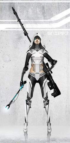 Sniper Picture  (2d, sci-fi, cyberpunk, cyborg, sniper, girl):