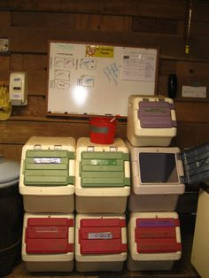 Love this! This is how my feed room is organized. Whole 50lbs bags of grain fit in there, it doesn't seem like it, but they do!