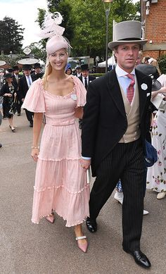Newlywed Lady Gabriella Windsor is pretty in pink as she arrives for Ascot's Ladies Day - and she's wearing Kurt Geiger shoes! White Tulle Dress, Striped Dress, Ascot Ladies Day, Kurt Geiger Shoes, Evening Dresses, Formal Dresses, Royal Fashion, Lace Sleeves, Dream Dress