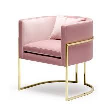 Pink velvet, gold framed Julius chair from Open Plan Living