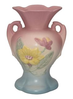 Vintage Pair of Hull Art Floral Theme Double Handle Vase Pastel Matte Pottery In Mid Century Style Made In The USA