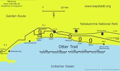 Otter Trail route map Tsitsikamma National Park, Knysna, 1. Tag, River Trail, Port Elizabeth, Otters, Funny People, South Africa, Humor