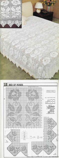 """Филейное вязание - покрывало """"Белая роза""""."""
