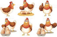 Six hens royalty-free stock vector art