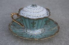 Altered Art Pearl and Rhinestone Embellished Cup by SeaForYourself, $20.00