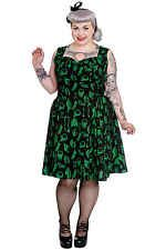 Hell Bunny Plus Size Gothic Black Green Halloween Skull Anatomy Lace Dress 2X-4X