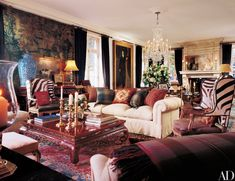 Ralph Lauren's Bedford Beauty : Celebrity Style : Architectural Digest Architectural Digest, Ralph Lauren House, Ralph Lauren Home Living Room, Living Room Interior, Living Room Decor, Living Rooms, New York Homes, Chinoiserie Chic, Celebrity Houses