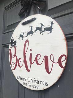 Front door personalized Christmas hanging sign, wreath door decor, believe santa with reindeer Christmas white holiday door hanger - wreaths - Dekor 2020
