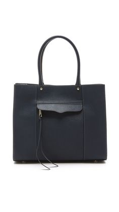 The perfect navy leather tote.