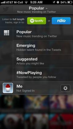 Twitter Music iPhone custom navigation screenshot