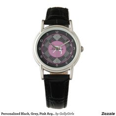 """Personalized Black, Grey, Pink Argyle Gymnastics Wrist Watch - Classy gymnastics wrist watch with a beautiful black, grey, and pink argyle backdrop. It has a gymnast silhouette inside of a pink circle. Add your own name before ordering! Additionally, use the """"customize it"""" button for more options, including a different font!  ©gollygirls.com"""