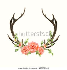 Beautiful vector horns with flowers. Hand drawn boho chic style design elements with deer antler, roses, branches, leaves and various flowers isolated on white background Deer Antler Tattoos, Deer Tattoo, Sternum Tattoo, Antler Drawing, Deer Drawing, Rose Tattoos, Flower Tattoos, Body Art Tattoos, Deer Horns