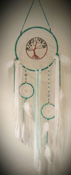 Green Tree Of Life Dream Catcher With China Turquise Chips/Mother Of Pearl Chips/Swarovski Beads/Wall Hanging/Green/White
