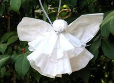 Paper Angel Ornament   What you'll need - coffee filter, cotton ball, ribbon, pipe cleaner, scissors, and a hot glue gun http://crafts.k...