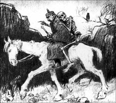 Political cartoon, drawn by Louis Raemakers: Death is seated behind German emperor Wilhelm II and shows him which way to go.