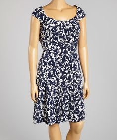 Another great find on #zulily! Navy Floral Cap-Sleeve Dress - Plus by London Times #zulilyfinds