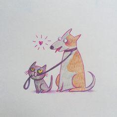 """факт обо мне. кот это фамилия, хотя для близких и друзей -имя. когда слышу на улице """"кс-кс-кс"""", борюсь с желанием обернуться - вдруг кто-то из знакомых.  но я никогда особенно не любила кошек и с детства мечтаю о большом дурашливом псе с гигантским носом. проблема в том, что с фамилией кот от папы мне досталась аллергия на животных.  до сих пор верю, что когда вырасту, аллергия пройдёт и я заведу собаку.  #биография_кота_в_картинках  для скетч-марафона @art.corpo..."""